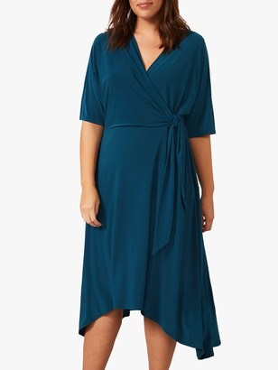 Studio 8 Emery Asymmetric Hem Wrap Midi Dress, Petrol