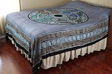 Celtic Blue Ball Indian Bedspread, Queen Size