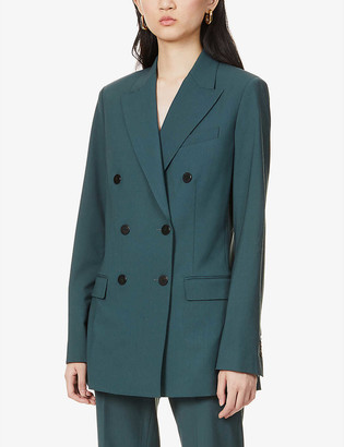 Theory Double-breasted stretch-wool blazer