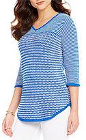 Westbound 3/4 Sleeve V-Neck Striped Sweater