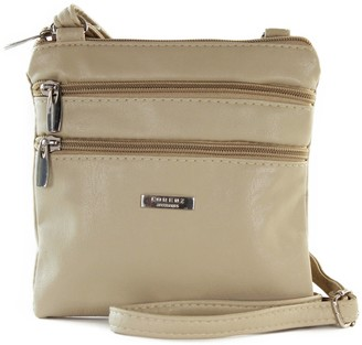 Generic New Womans Leather Style Cross Across Body Shoulder Messenger Bag Zipped (Beige)