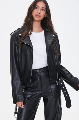 Forever 21 Faux Leather Belted Moto Jacket