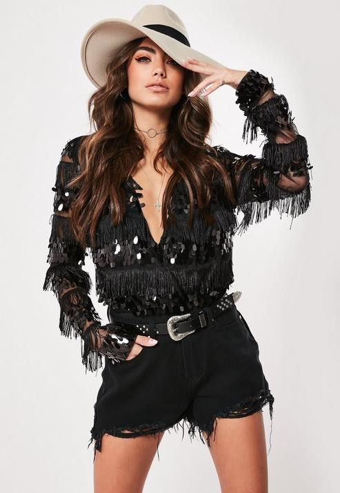 Missguided Black Sequin Fringe Wrap Bodysuit