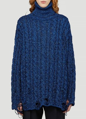 Balenciaga Destroyed Turtleneck Cable Knit Sweater