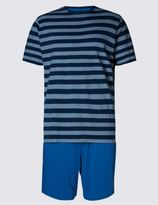 Marks and Spencer Pure Cotton Nautical Striped Top and Shorts