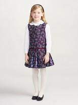 Oscar de la Renta Tweed and Petite Roses Pleated Dress