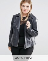 Asos Clean Biker Jacket In Leather