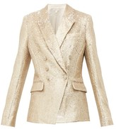 Jonathan Simkhai Distressed Sequinned Double-breasted Blazer - Womens - Gold