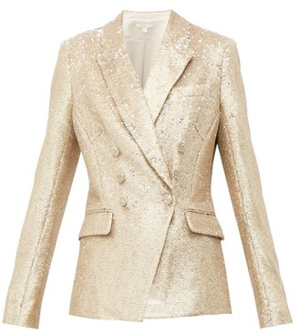 Jonathan Simkhai Distressed Sequinned Double Breasted Blazer - Womens - Gold