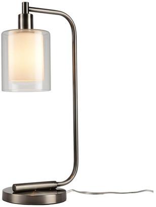 Woodbridge Lighting Alaina 1-Light Table Lamp, Antique Nickel, Clear & Opal Double Glass