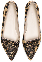 Sophia Webster Calf Hair Bibi Butterfly Leopard Flats in Brown,Animal Print.