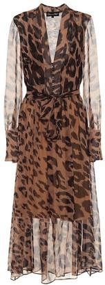 Oscar de la Renta Leopard silk-chiffon midi dress