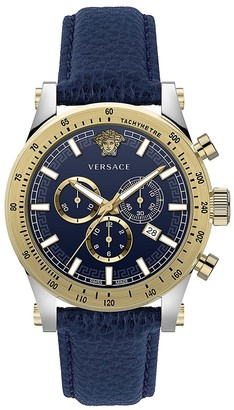 Versace Chrono Sporty Two-Tone Stainless Steel Leather Strap Chronograph Watch