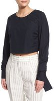 3.1 Phillip Lim Long-Sleeve Cropped Poplin Top, Blue