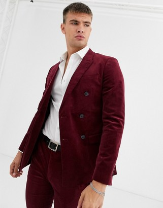 Topman super skinny suit jacket in burgundy cord