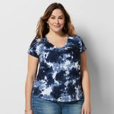 Plus Size SONOMA Goods for LifeTM Embroidered Tie-Dye Tee