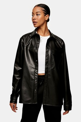 Topman Black PVC Long Sleeve Shirt