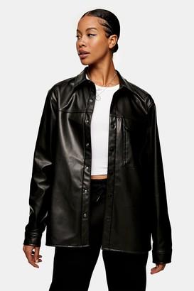 Topman Womens Black Pvc Long Sleeve Shirt - Black
