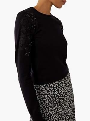 Warehouse Lace Ruffle Sleeve Jumper, Black