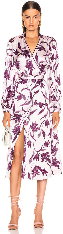 Equipment Andrese Dress in Purple Print   FWRD