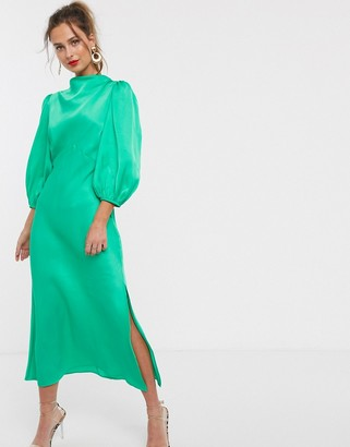 ASOS DESIGN cowl neck satin tea midi dress with puff sleeve in green