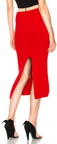 Calvin Klein Wool Rib Knit Midi Skirt in Red.