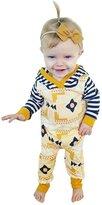 honeys Newborn Baby Girls Long Sleeve Printing Striped Button Romper Hoodie Pajamas