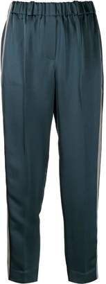 Incotex side striped cropped trousers