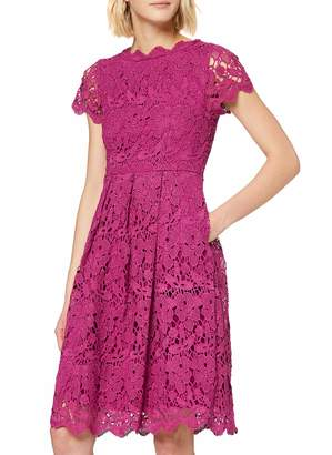 Yumi Women's Guipure Lace Fit and Flare Dress Casual