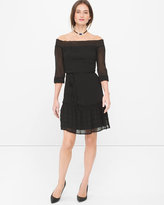 White House Black Market Off-The-Shoulder Black Blouson Dress