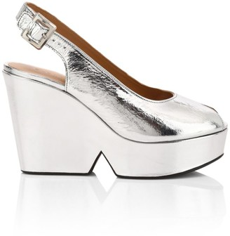 Clergerie Dylan Metallic Leather Slingback Platform Wedge Sandals