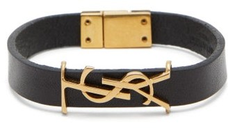 Saint Laurent Monogram-plaque Leather Bracelet - Mens - Black
