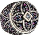 MCL by Matthew Campbell Laurenza Multicolor Sapphire Quatrefoil Cocktail Ring
