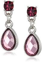 1928 Jewelry Silver-Tone Amethyst Purple Teardrop Earrings