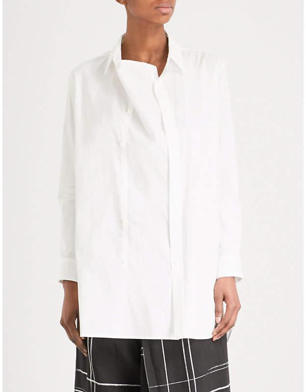 Y's Ys Double-placket draped cotton shirt
