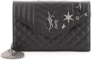 Saint Laurent Classic Monogram Chain Wallet Embellished Mixed Matelasse Leather