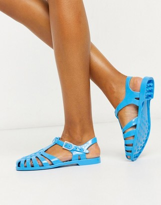 London Rebel flat jelly shoes in blue