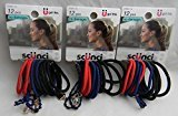 Scunci Bright Colors Red Dark Blue, and Black - 36 Count - 3 Packages of 12 Count Elastics With charms