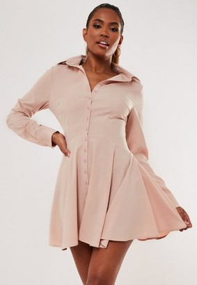 Missguided Stone Button Down Skater Shirt Dress