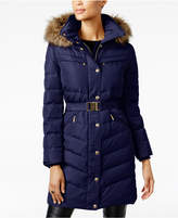 MICHAEL Michael Kors Faux-Fur-Trim Belted Down Puffer Coat, Created for Macy's