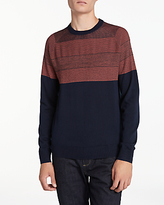 Ps By Paul Smith Two Contrast Stitch Crew Merino Jumper, Navy