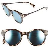 Salt Women's Houston 49Mm Polarized Round Sunglasses - Bisque Havana/ Blue Mirror