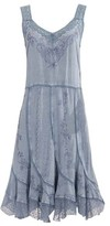Coline Women's Casual Dresses SILVERBLUE - Silverblue Embroidered Lace-Trim Sleeveless Dress - Women