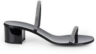 Giuseppe Zanotti Croisette Crystal-Embellished Patent Leather Mules