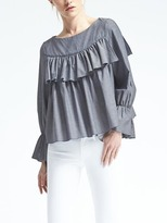 Banana Republic Ruffle-Front Chambray Top