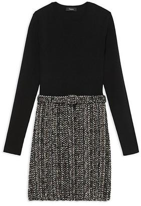 Theory Long-Sleeve Ribbed Combo Knit Dress
