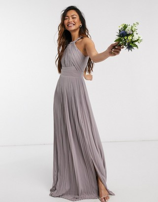 TFNC bridesmaid exclusive pleated maxi dress in grey