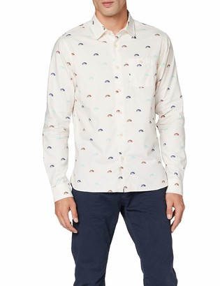 Scotch & Soda Men's Oxford Long Sleeve Shirt with Prints and Yarn Dyed Stripes