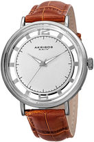 Akribos XXIV Mens Silver-Tone Red Leather Strap Watch