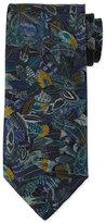 Salvatore Ferragamo Plume-Print Silk Tie, Gray